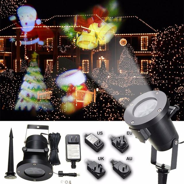 REINO UNIDO/EUA/UE/UA Plug Natal Em Movimento Luz Do Estágio do Laser Luz Do Projetor Paisagem Ao Ar Livre Lâmpada de Iluminação Do Jardim à prova d' água