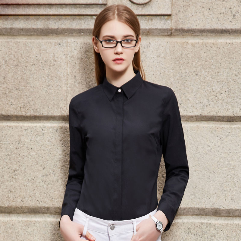 New Women's Shirt Spring 2017 Elegant All-match Long-sleeve Slim Black  White Shirt - Compare Prices On Black Work Blouses- Online Shopping/Buy Low