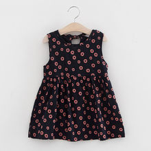 Dress Elegant Sleeveless One Piece Dress Print Bowknot Tutu Cotton Dresses Kids Clothes Disfraz Infantil#S3(China)