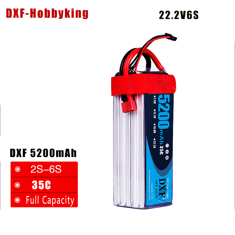 2017 DXF Lipo Battery 22.2V 5200MAH 35C 6S MAX 60C T/XT60 LiPo RC Battery For Rc Helicopter Car Boat drone truck quadcopter zop lipo battery 11 1v 2200mah 3s 30c max 35c xt60 t plug for rc helicopter qudcopter drone truck car boat