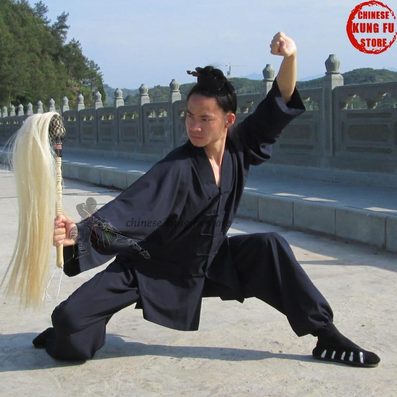 Custom Make 3 Colors Tai Chi Uniform Wudang Taoist Daily Training Kung Fu Suit