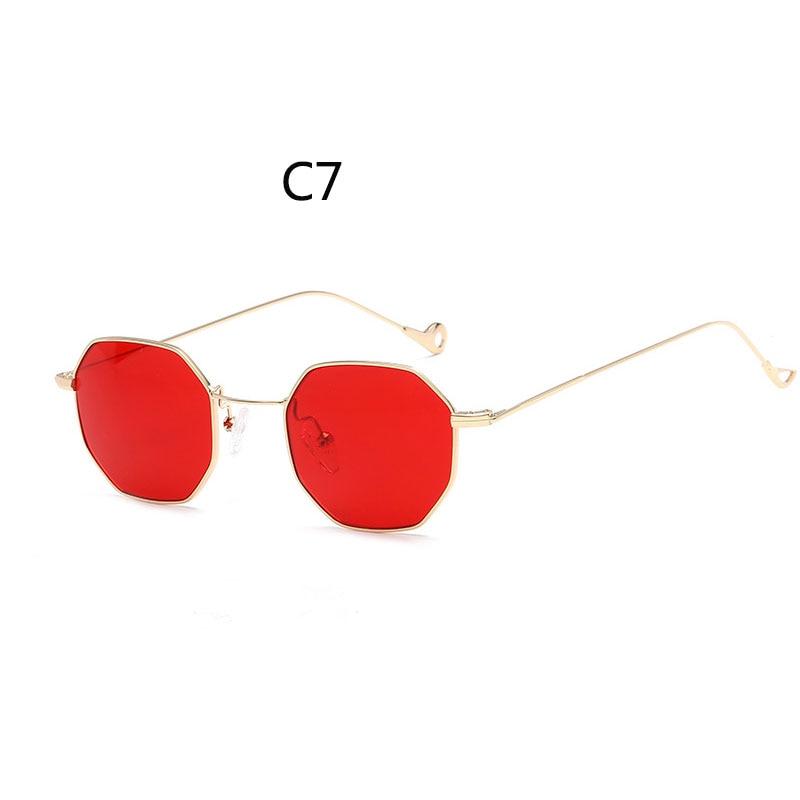 reggaeon Brand Designer Fashion Sunglasses Octagon vintage Women HEXAGON Retro Computer Glasses Metal Frame red Shades UV400 очки мерседес