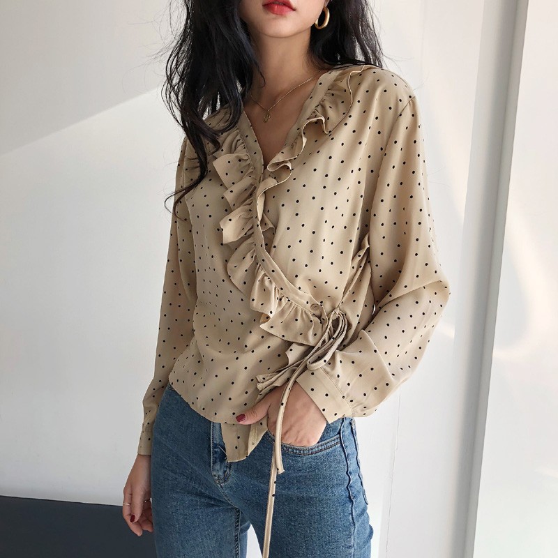 Bgteever Autumn V-neck Lace Up Long Women Blouse Shirt Elegant Slim Waist Female Blusas 2018 Casual Women Bandage Tops Blouses & Shirts
