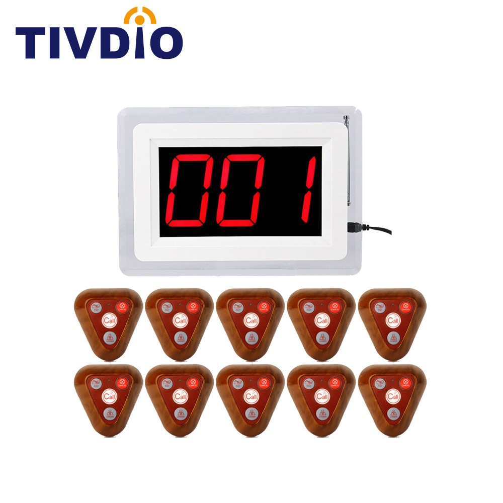TIVDIO Wireless Restaurant Calling Pager System 1 Receiver 10 Call Button For Restaurant Waiter Calling Pager System F4400B wireless service calling system paging system for hospital welfare center 1 table button and 1 pc of wrist watch receiver