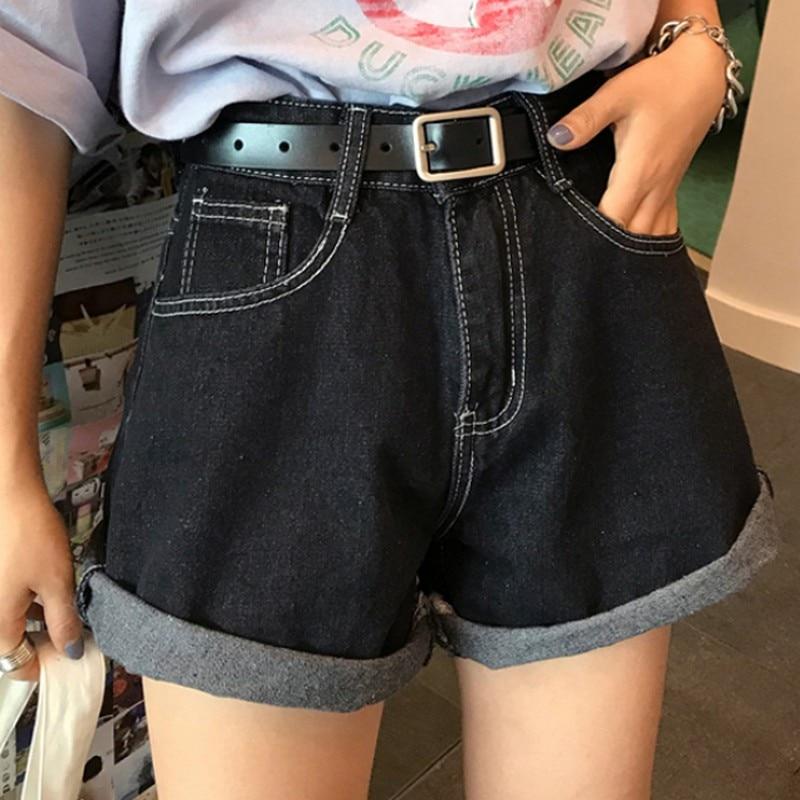 2019 Summer Fashionable Women Denim Shorts Simple High Waist Loose Casual Wide Leg Shorts Plus Size Black Ladies Short Jeans