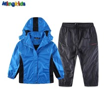 Mingkids Boy Outdoor Toddlers set waterproof windproof suit pants and hooded jacket European Size Clearance