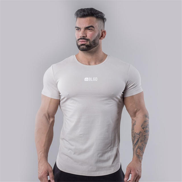 YEMEKE 2019 Summer New Pure color stitching t shirt Men Skinny O-neck Cotton Slim Fit tshirt Male High Quality Breathable Tees
