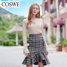 COSWE New Autumn Winter Plaid Trumpet Skirt Mermaid Skirt Women High Waist Skirt Zipper Bodycon Button Patchwork Womens Skirts