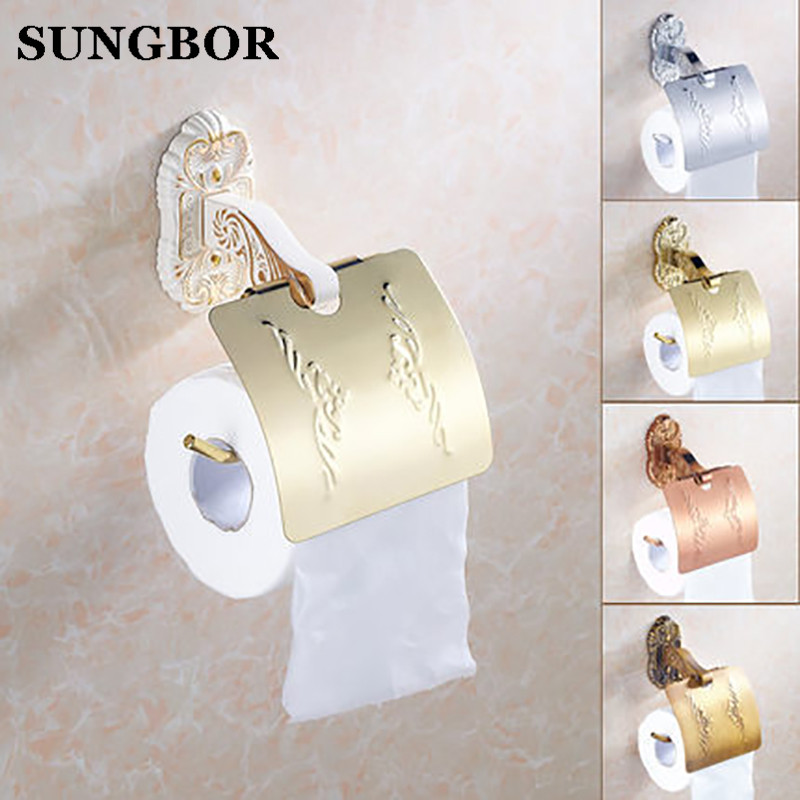 Antique bronze suspension carved paper towel rack Europe white bathroom paper holder toilet paper box toilet Accessores SL-5808R