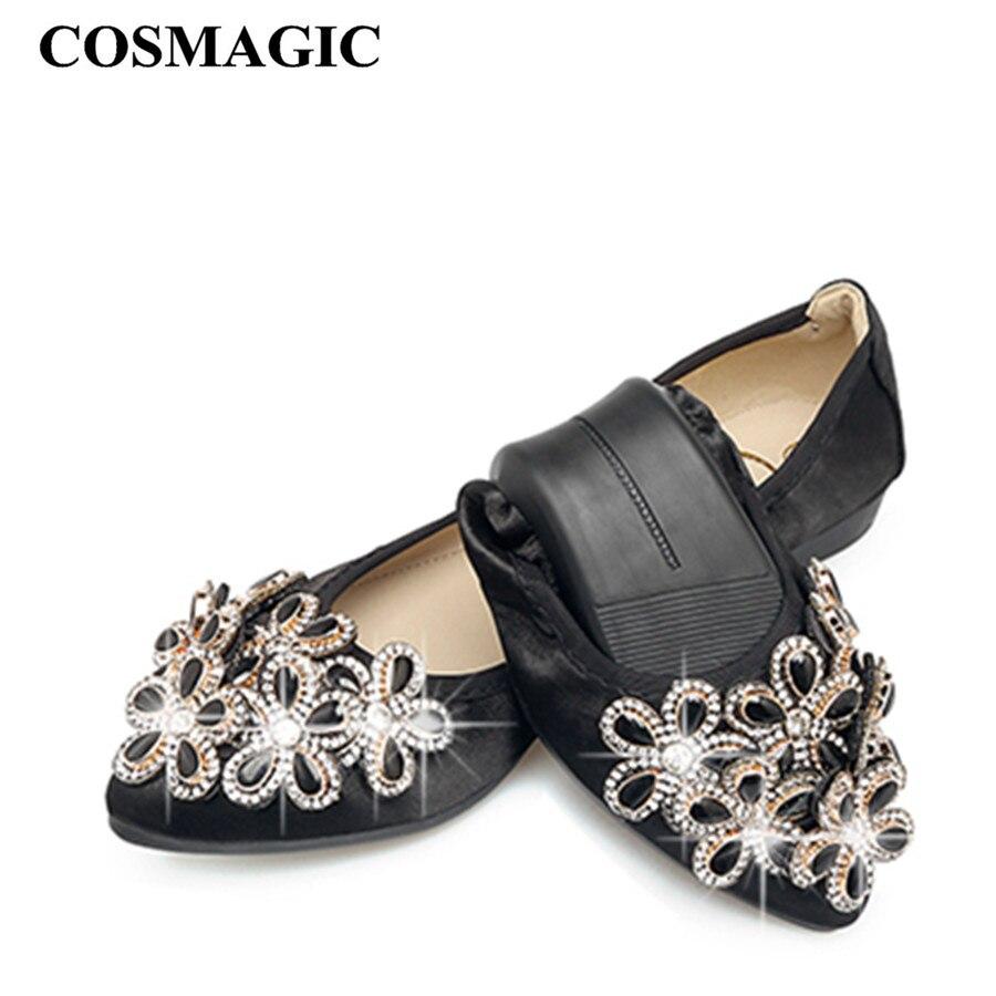 2017 New Women Silk Flower Rhinestone Ballet Flats Shoe Green Gray Pink Slip  on Fashion Pointed Toe Folding Shoe Plus Size-in Women s Flats from Shoes  on ... b9c20e08ab85