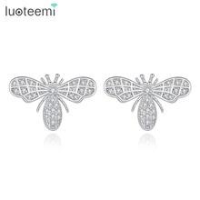 LUOTEEMI, фирменный дизайн, гвоздики пчелка, серьги для женщин, ручная работа, маленькие, блестящие, CZ, два цвета, свадебные украшения, рождественский подарок