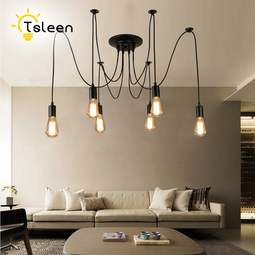TSLEEN Modern Nordic Retro Edison Bulb Light E27 E26 Chandelier Vintage Loft Antique Adjustable DIY Spider Pendant Lamp For Home hemp rope chandelier antique classic adjustable diy ceiling spider lamp light retro edison bulb pedant lamp for home
