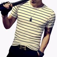 New Men T Shirt 2016 Summer Fashion O Neck Short Sleeved Slim Fit Striped T Shirt