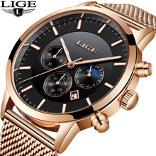LIGE Mens Watches Top Brand Luxury Waterproof Sport Watch Men Casual fashion stainless steel quartz clock Relogio masculino +BOX top brand luxury moon phase men quartz watches mens casual sport watch male multifunction waterproof clock relogio masculino