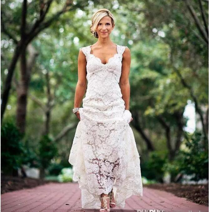 Weddings Country Style V neck Cap Sleeves Keyhole Back A Line Vintage Bridal Gowns Vestios lace Mother of the Bride Dresses in Mother of the Bride Dresses from Weddings Events
