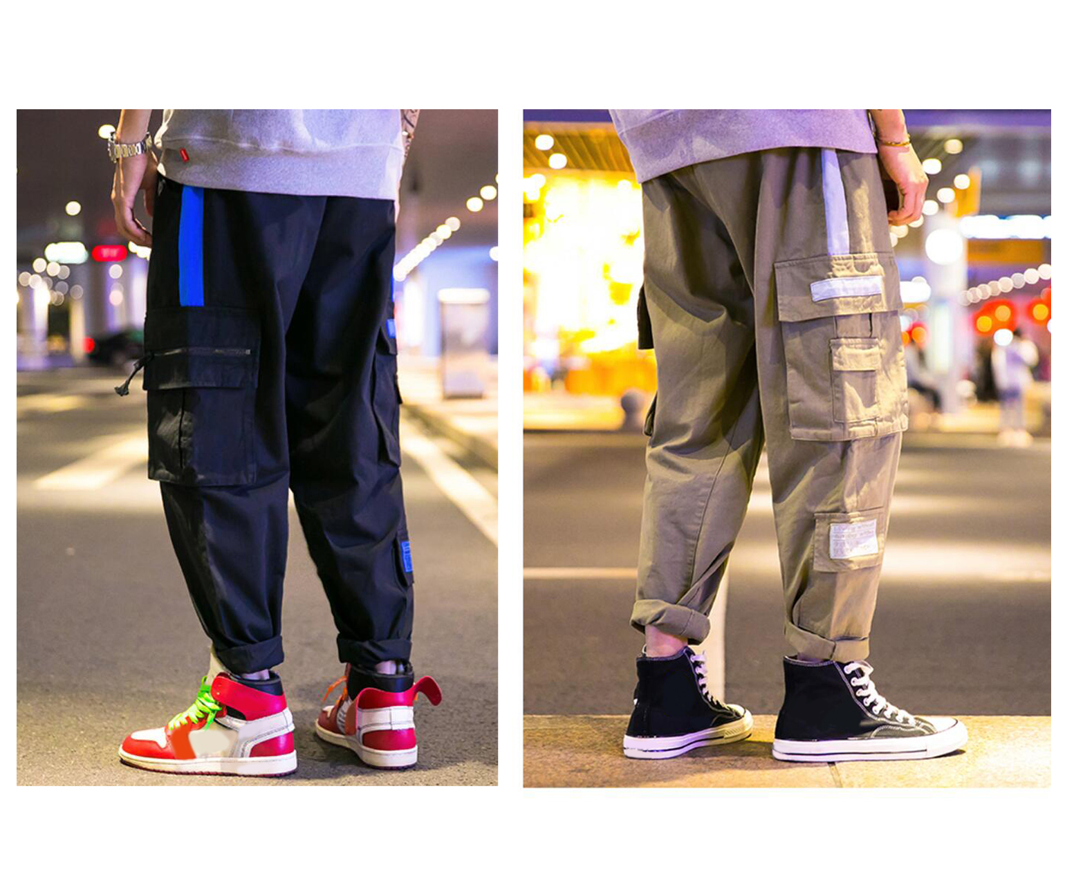 Men's Street Fashion Pants Casual Cargo Trousers Work Pants Pants For Adolescents And Young Boys, Straight Leg Loose Fit Pants