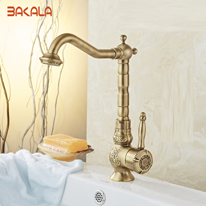 2017 New Arrive Deck Mounted  Antique Brass Single Handle Bathroom Sink Mixer Faucet Hot & Cold Water  BR-10701 brand new deck mounted chrome single handle bathroom