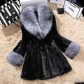 De lujo de IMITACIÓN de Piel de Visón Con Cuello de Piel Grande Invierno de Las Mujeres escudo Winterjas Damas Gilet Chaquetas chalecos de pelo mujer S-4XL