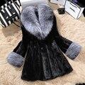 Luxury FAUX Mink Fur Coat With Large Fur Collar Women Winter Coat Winterjas Dames Fur Gilet Jackets chalecos de pelo mujer S-4XL
