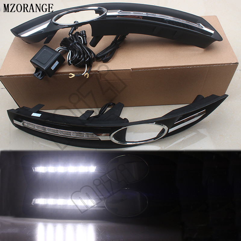 MZORANGE LED Daytime Running Lights White for Volkswagen Vw Passat B6 2007 2008 2009 2010 2011 DRL Fog lamp cover driving lights hot sale abs chromed front behind fog lamp cover 2pcs set car accessories for volkswagen vw tiguan 2010 2011 2012 2013