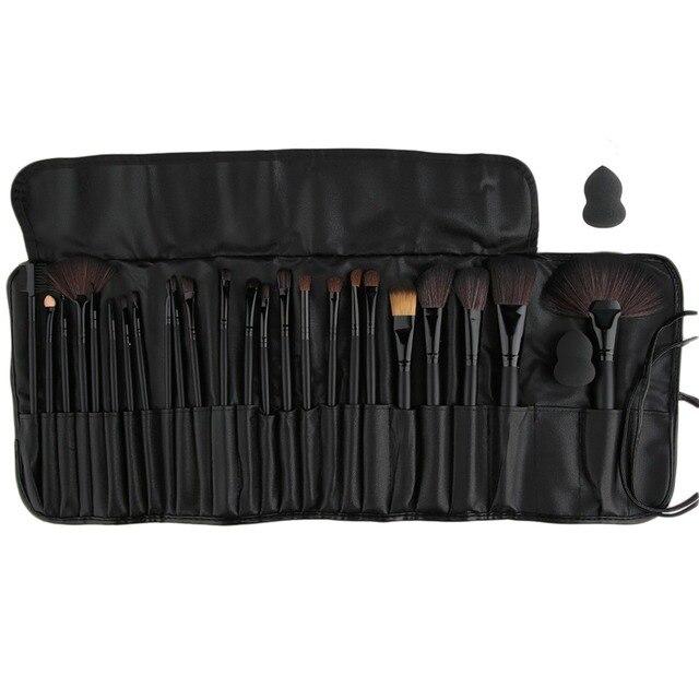 Макияж косметический набор 24 Шт. Косметические Кисти Фонд Порошок Тени Для Век Кисти set + 1 шт. puff + черный мешок Pro Black 100% Топ Хорошее