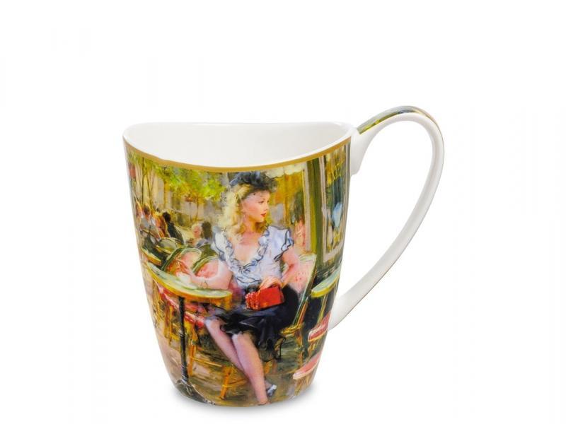 Mug Carmani, The coffee cup, 400 ml dolphin ceramic cup handmade porcelain coffee mug with saucer spoon set