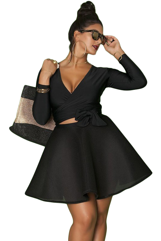 US $21.84 7% OFF|Plus Size Women Skate Dress 2018 New Autumn Black Wrap and  Tie Long Sleeve Top Plus Size Skater Dress-in Dresses from Women\'s ...