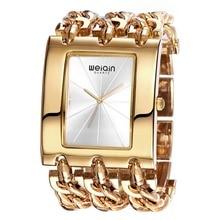 Weiqin marca de lujo de oro de las mujeres pulsera relojes de señora brazalete de moda a prueba de agua vestido reloj mujer relogio feminino reloj hora