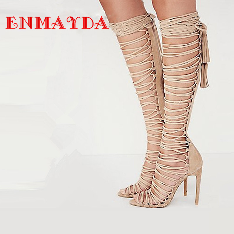 ФОТО ENMAYDA Plus Size 34-43 New Sexy Knee High Gladiator Sandals High Heels Lace Up Suede Summer Boots Thin Heels Party Dance Shoes