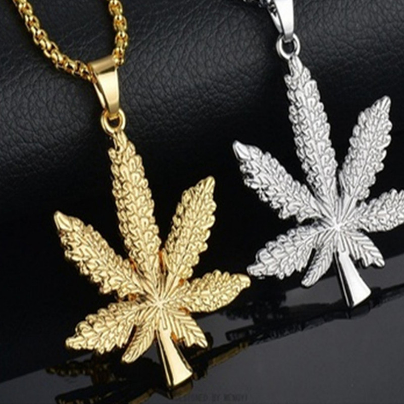 2018 New Trendy Gold Silver Plated <font><b>Cannabiss</b></font> Small Weed Herb Charm <font><b>Necklace</b></font> Maple Leaf Pendant <font><b>Necklace</b></font> Hip Hop Wholesale image