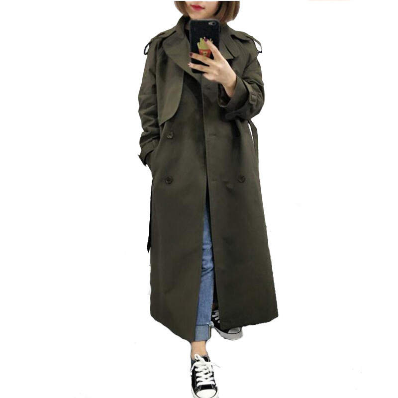 U-SWEAR New Fashion 2019 Spring Fall Casual Double Breasted Simple Classic Long Trench Coat with Belt Chic Female Windbreaker