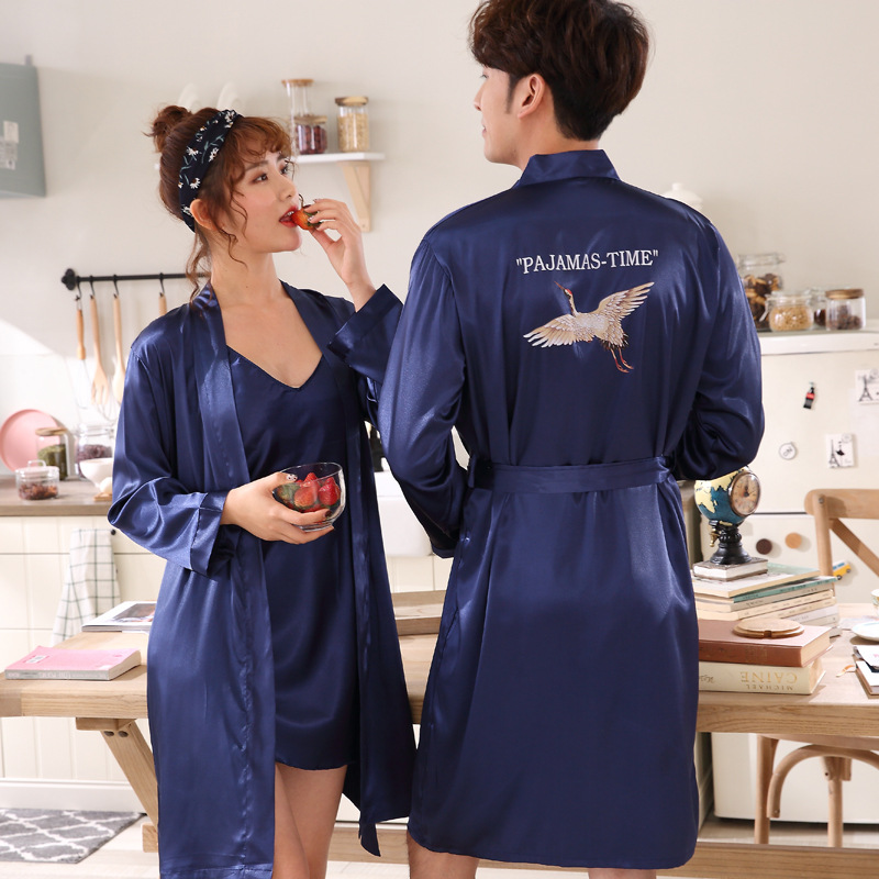 New Lovers Casual Sleepwear Loose Robe Summer Kimono Bathrobe Gown Soft Nightwear Rayon Home Wear Women Men Print Nightgown