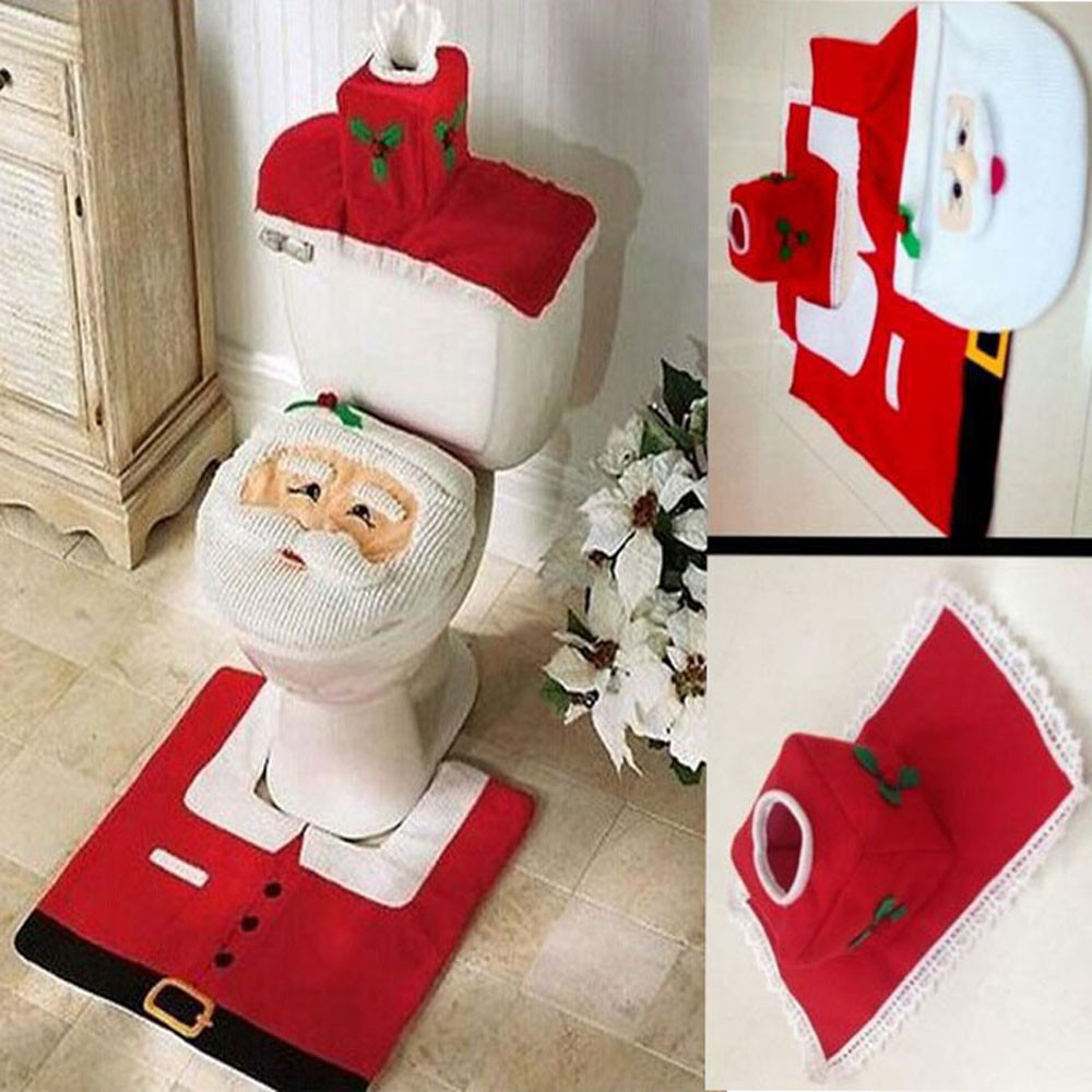 Christmas bathroom accessories -  3 Pcs Rug And Tissue Box Cover For Christmas Home Bathroom Set Flannel Cute Smiley Face