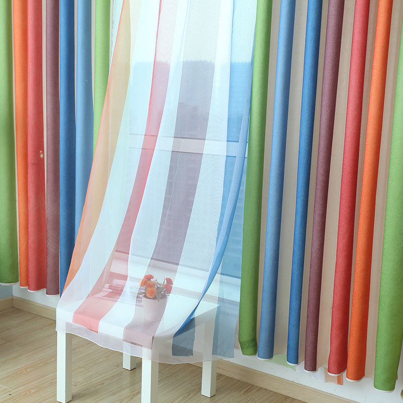 Merveilleux Rainbow Striped Curtains For Dining Room Bedroom Explosion Models  Mediterranean Style Windows Boys Girls Blinds WP050C In Curtains From Home  U0026 Garden On ...