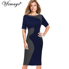 Vfemage Women Elegant Contrast Patchwork Colorblock Vintage Wear To Work Official Business Party Bodycon Pencil Sheath Dress 167(China)