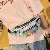Holographic Fanny Pack Laser Waist Packs Heuptas Women's Waistband Banana Bags Waist bag Unisex bolso cintura Chain Chest Bag