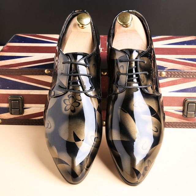Men's Multicolor Leather Camouflage Patterned Shoes