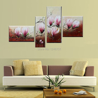 3 Piece Free Shipping Cheap abstract Modern Wall Painting purple pink flower Home Decorative Art Picture Painton Canvas Handmade