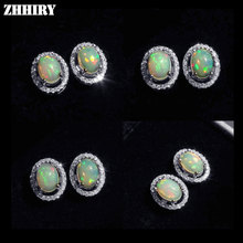 ZHHIRY Natural Fire Opal Earrings Genuine Gem Stone Solid 925 Sterling Silver Real Earrings Women Fine Jewelry