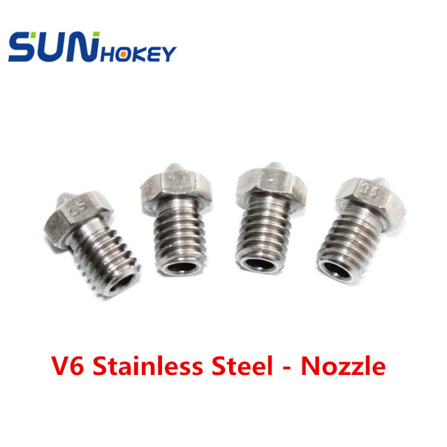 2016 5pcs/lot High Quality 3D Printer Nozzles 0.25/0.4/0.8mm V6 Stainless Steel Nozzle optional size for 1.75/3.0mm