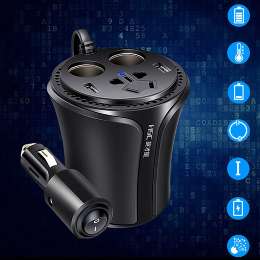 HSC 108A Car Power Inverter Multifunction Cup Shape Car Charger 3.1A Cigarette Lighter Socket Splitter With Independent Switch