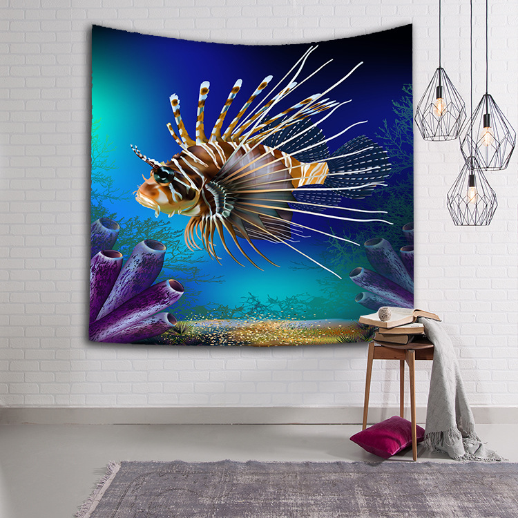 Image 4 - CAMMITEVER Turtles Dolphin Blue Sea Animals Fish Tapestry Wall Hanging Throw Home Decor for Living Room Bedroom Dorm Deccor-in Tapestry from Home & Garden