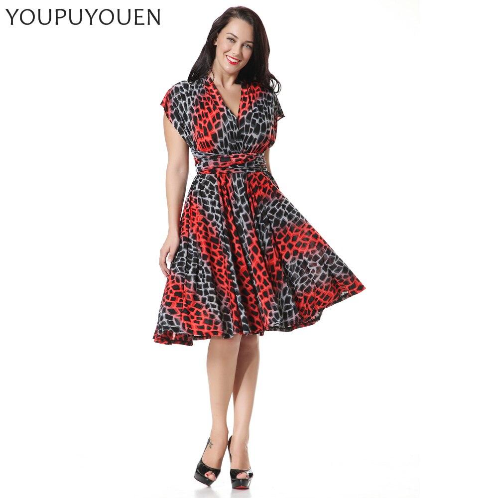 e6693a4b852f YOUPUYOUEN Plus Size Skater Dress Sexy Multi Worn Summer Party Dresses  Bohemian Tunic Boho Beach Wear 2017 Women Print Sundress-in Dresses from  Women s ...
