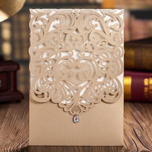 Dark Gold Hollow Pattern Shiny Rhinestone Wedding Invitations Cards By Wishmade Cw5010 Minimum
