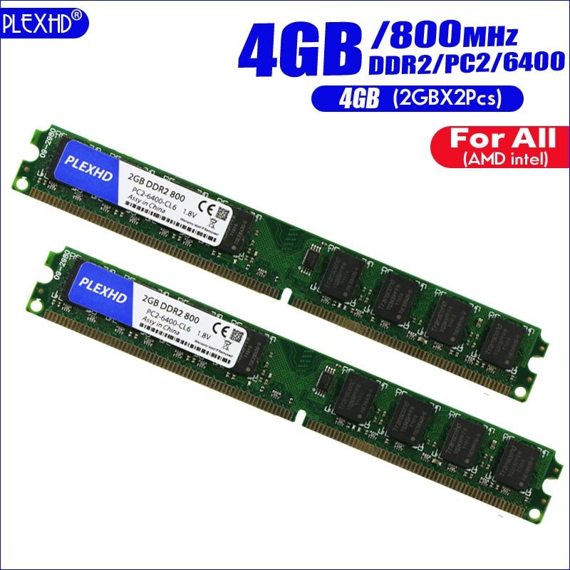 PLEXHD 4G 4GB(2GBX2pcs) DDR2 pc2 6400 800Mhz For Desktop PC pc2-6400 ddr2 800 MHZ (For intel amd) High Compatible 1