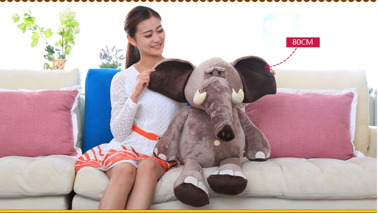 big lovely plush elephant toy new creative elephant doll about 80cm big creative plush elephant toy lovely stuffed jungle elephant gift doll about 80cm