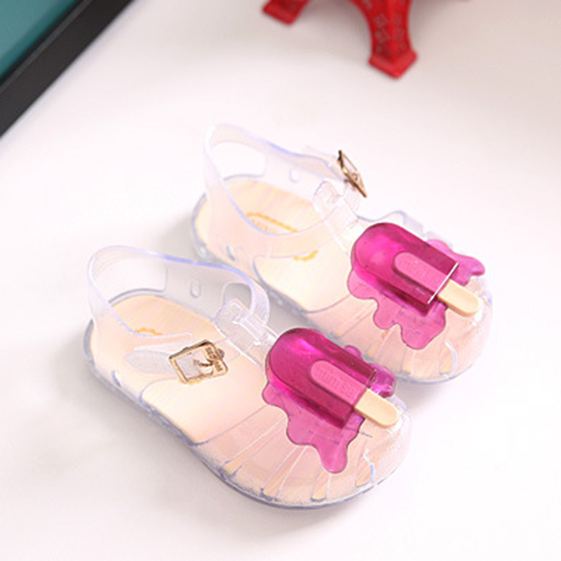 Summer 2017 New Mini Sed Jelly Baby Girls Ice Cream Sandals Cute Cartoon Beach Shoes Soft Bottom Toddler Girls Shoes