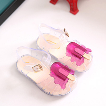 Summer 2017 New Mini Sed Jelly Baby Girls Ice Cream Sandals Cute Cartoon Beach Shoes Soft Bottom Toddler shoes