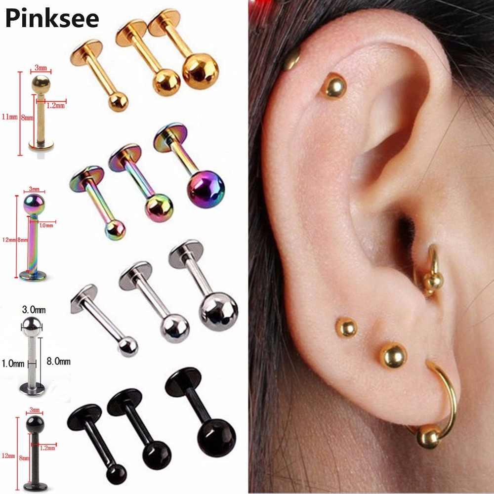 2pcs Surgical Steel Tragus Helix Bar Ball Labret Lip Top Upper Ear Cartilage Studs Earrings Body