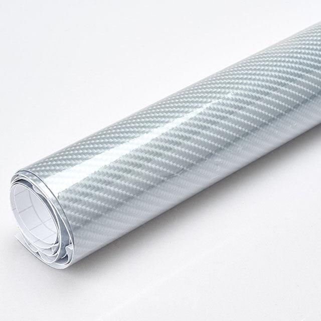 Car Styling High Glossy 5D Silver Carbon Fiber Vinyl Film Carbon Fiber Car Wrap Sheet Roll Film Tool Car Sticker Decal